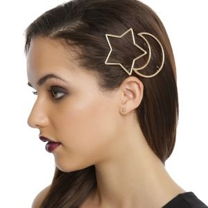 BLACKHEART GOLD STAR & MOON OUTLINE HAIR CLIP SET